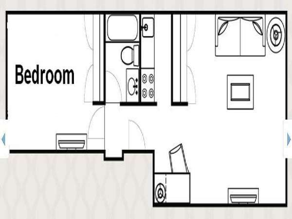 New York 1 Bedroom accommodation - apartment layout  (NY-14526)
