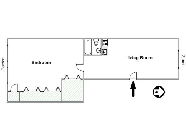 New York 1 Bedroom apartment - apartment layout  (NY-14535)