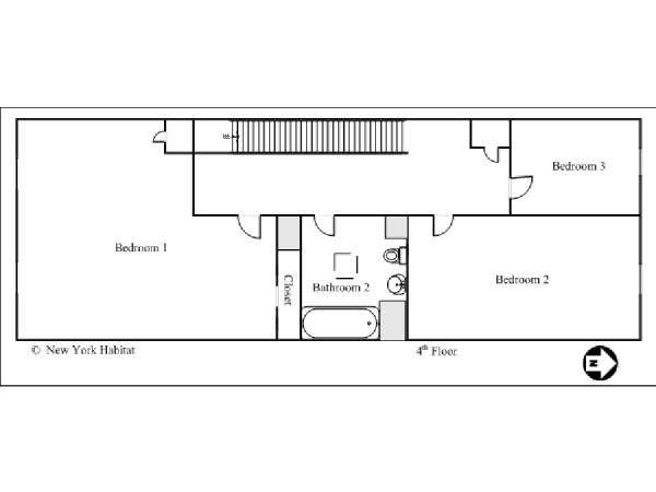 New York T4 - Duplex logement location appartement - plan schématique 2 (NY-14590)