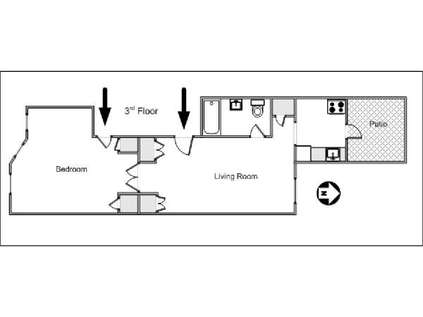 New York 1 Bedroom apartment - apartment layout  (NY-14603)