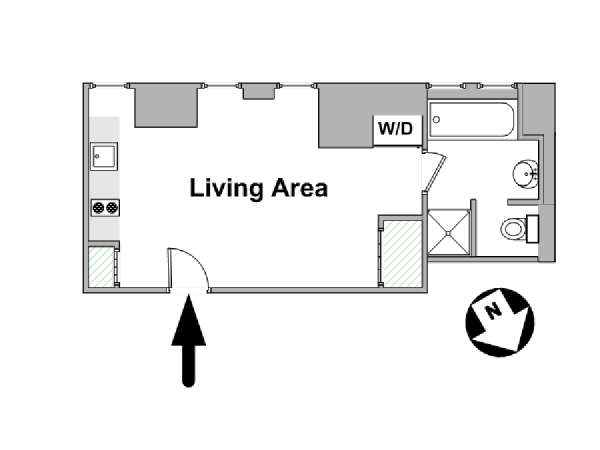 New York Studio apartment - apartment layout  (NY-14606)