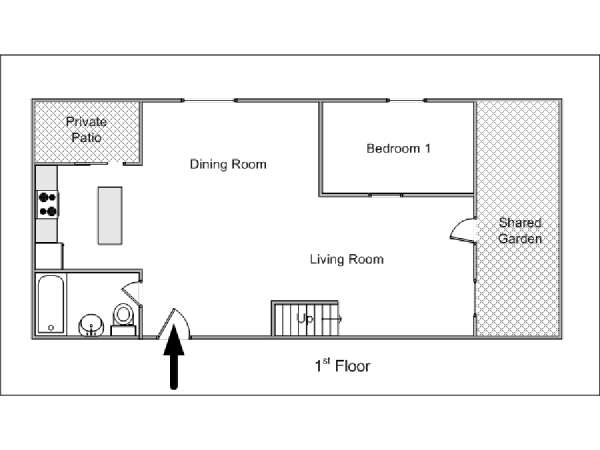 New York 2 Zimmer wohnung bed breakfast - layout  (NY-14632)