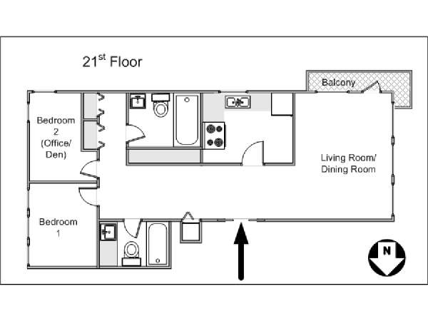 New York 2 Bedroom apartment - apartment layout  (NY-14663)