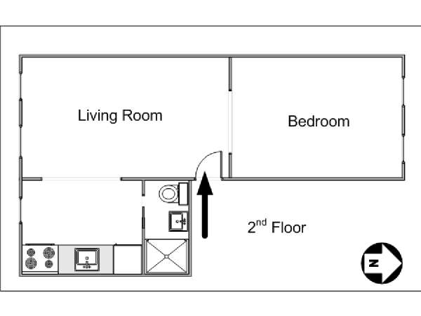 New York 1 Bedroom apartment - apartment layout  (NY-14691)