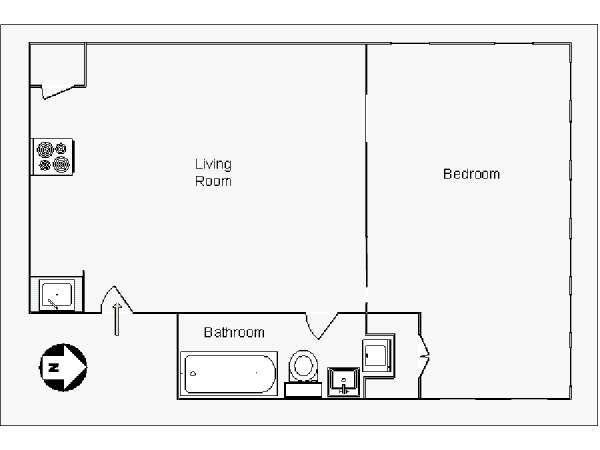 New York 1 Bedroom apartment - apartment layout  (NY-14702)