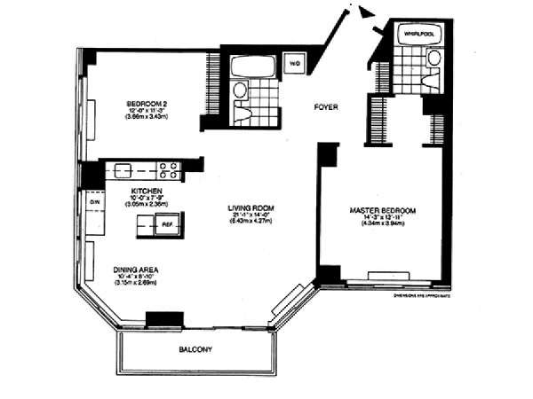 New York 2 Bedroom accommodation - apartment layout  (NY-14745)