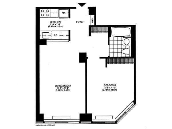 New York 1 Bedroom accommodation - apartment layout  (NY-14749)