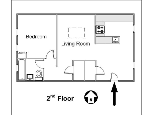 New York 1 Bedroom accommodation - apartment layout  (NY-14781)
