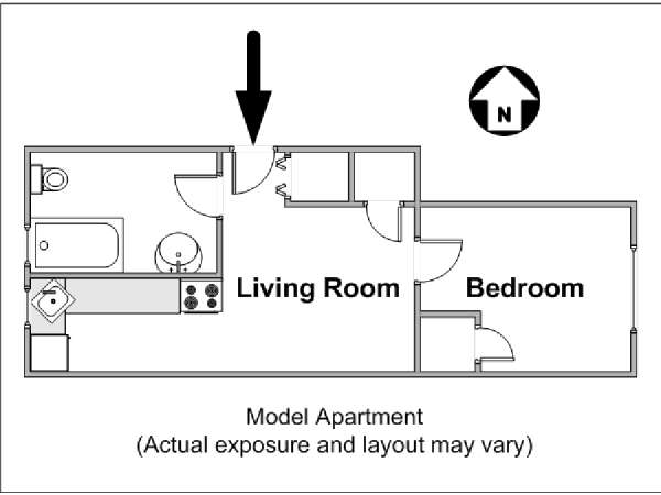 New York 1 Bedroom apartment - apartment layout  (NY-14822)