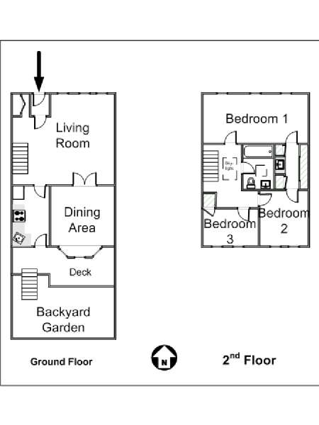 New York 3 Bedroom - Duplex accommodation - apartment layout  (NY-14866)