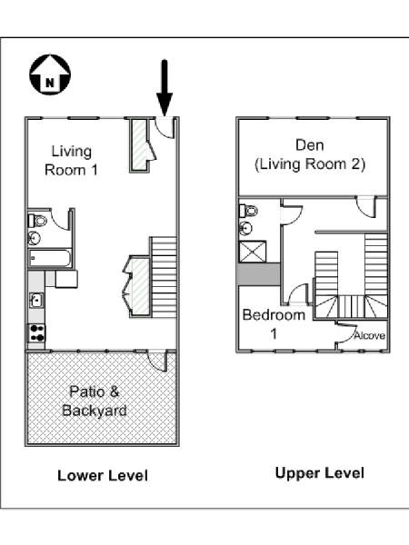 New York 1 Bedroom - Duplex apartment - apartment layout  (NY-15001)