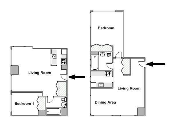 New York 1 Bedroom apartment - apartment layout  (NY-15054)
