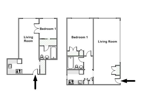 appartamento a new york - 1 camera da letto - midtown west (ny-15069) - Piantina Camera Da Letto