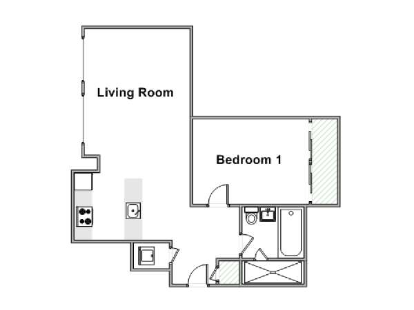 New York T2 logement location appartement - plan schématique  (NY-15078)