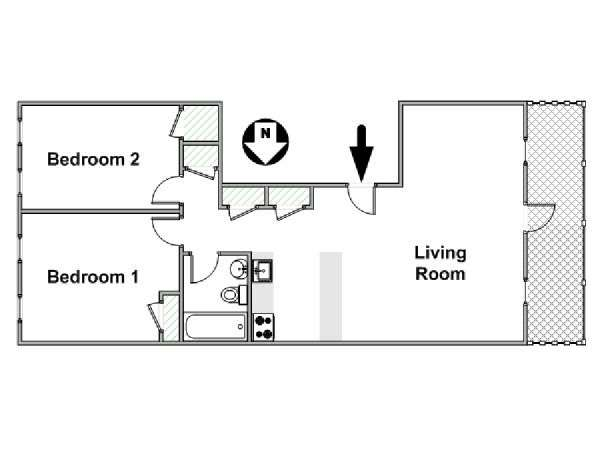 New York 2 Bedroom apartment - apartment layout  (NY-15276)