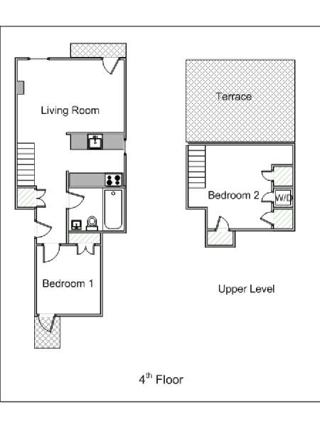 New York 2 Bedroom - Duplex accommodation bed breakfast - apartment layout  (NY-15299)