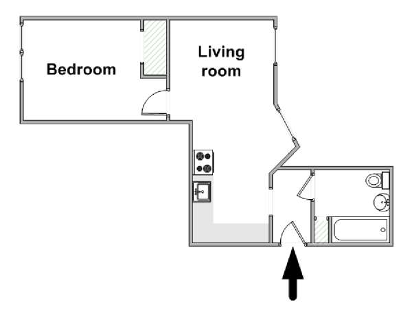 New York T2 logement location appartement - plan schématique  (NY-15307)