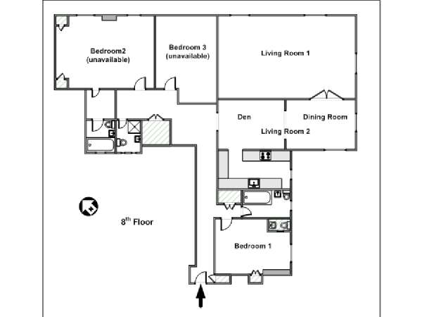 New York 3 Bedroom roommate share apartment - apartment layout  (NY-15328)