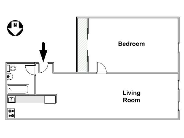 New York 1 Bedroom apartment - apartment layout  (NY-15337)