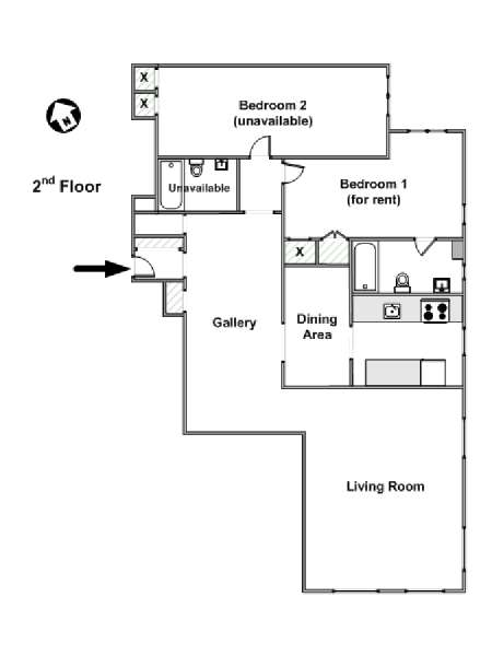 New York T3 appartement colocation - plan schématique  (NY-15338)