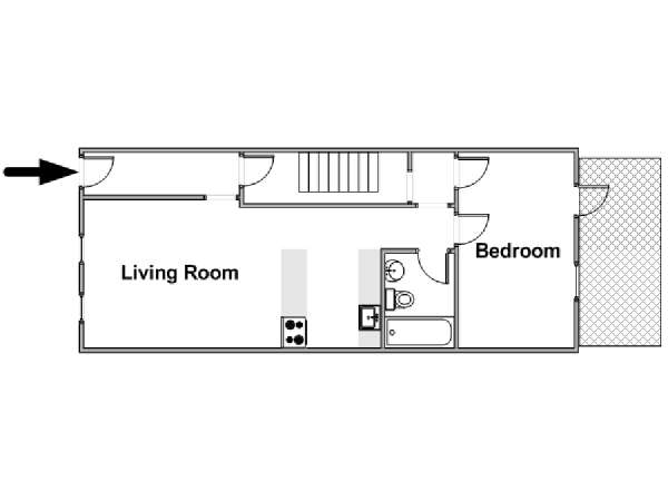 New York 1 Bedroom accommodation - apartment layout  (NY-15347)