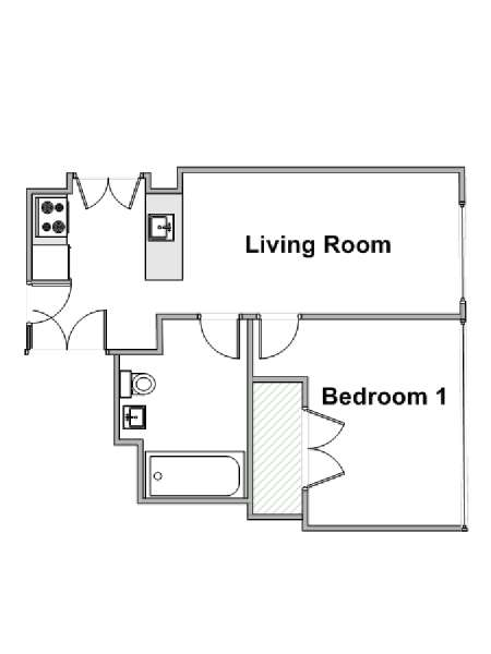 New York 1 Bedroom apartment - apartment layout  (NY-15352)