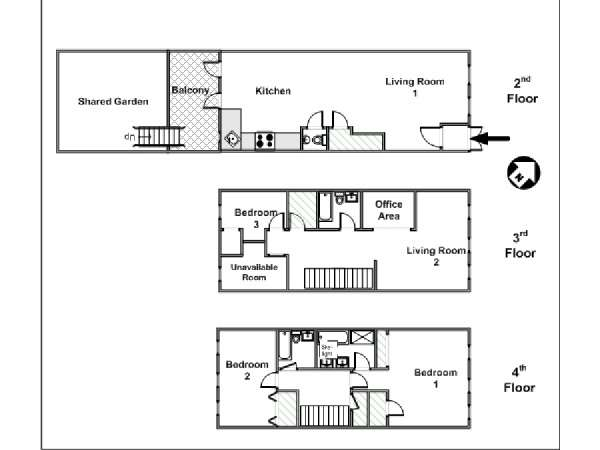 New York 3 Bedroom - Triplex apartment - apartment layout  (NY-15383)