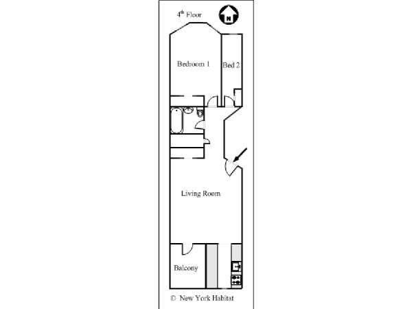 New York 2 Bedroom apartment - apartment layout  (NY-15405)