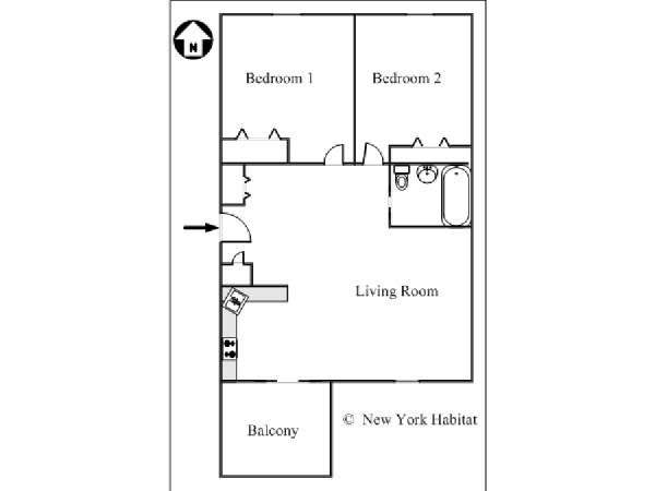 New York 2 Bedroom accommodation - apartment layout  (NY-15411)