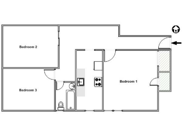 New York 3 Bedroom roommate share apartment - apartment layout  (NY-15412)