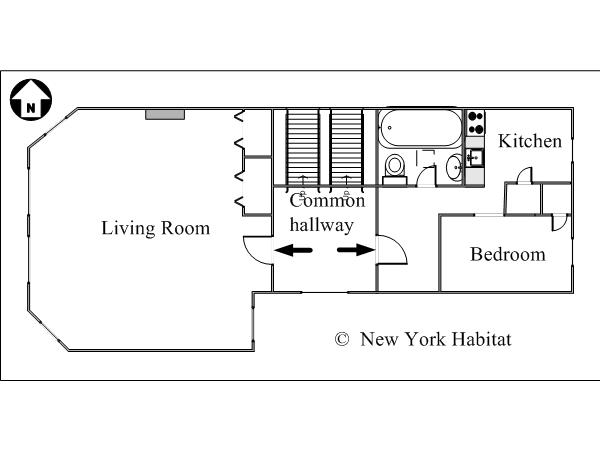 New York 1 Bedroom apartment - apartment layout  (NY-15414)