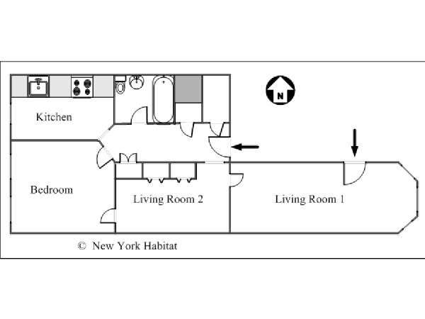 New York T2 appartement location vacances - plan schématique  (NY-15437)