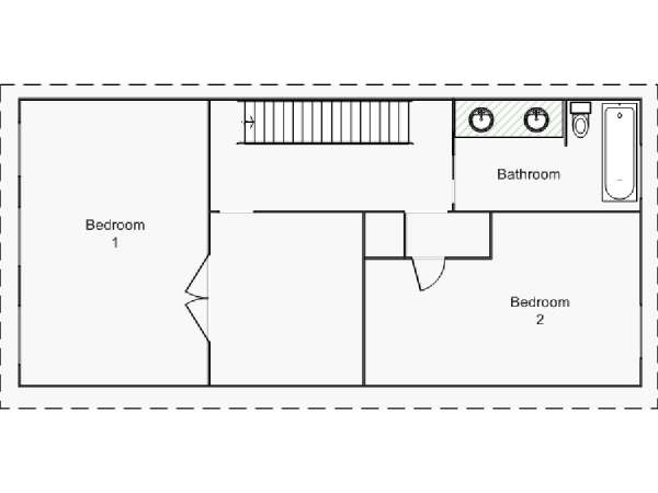 New York 2 Bedroom - Duplex accommodation - apartment layout 2 (NY-15439)