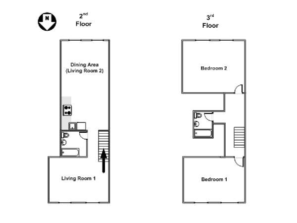 New York 2 Bedroom - Duplex accommodation - apartment layout  (NY-15466)