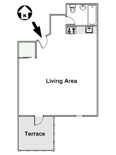 New York Studio T1 logement location appartement - plan schématique  (NY-15671)