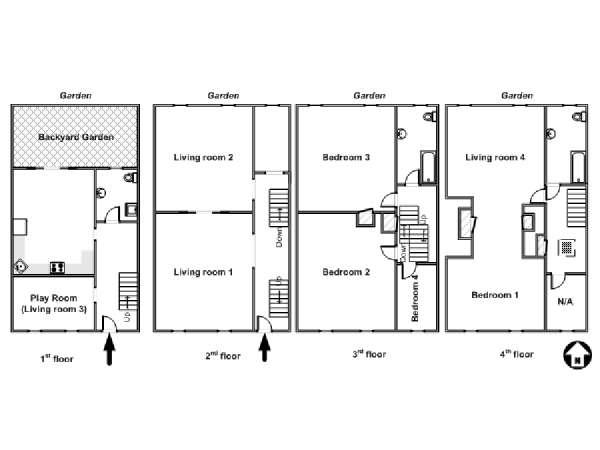 casa vacanza a new york - 4 camere da letto - brooklyn heights (ny ... - Piantina Camera Da Letto