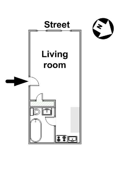 New York Studio T1 logement location appartement - plan schématique  (NY-16119)