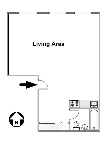 New York Studio T1 logement location appartement - plan schématique  (NY-16263)