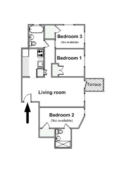 New York 3 Bedroom roommate share apartment - apartment layout  (NY-16265)