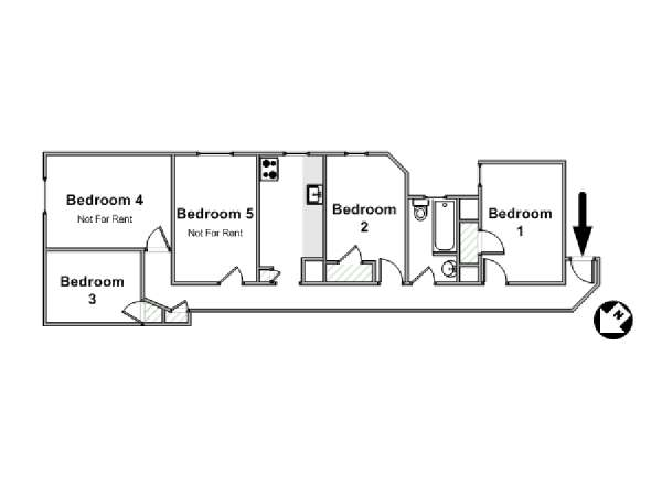 New York 5 Bedroom roommate share apartment - apartment layout  (NY-16541)