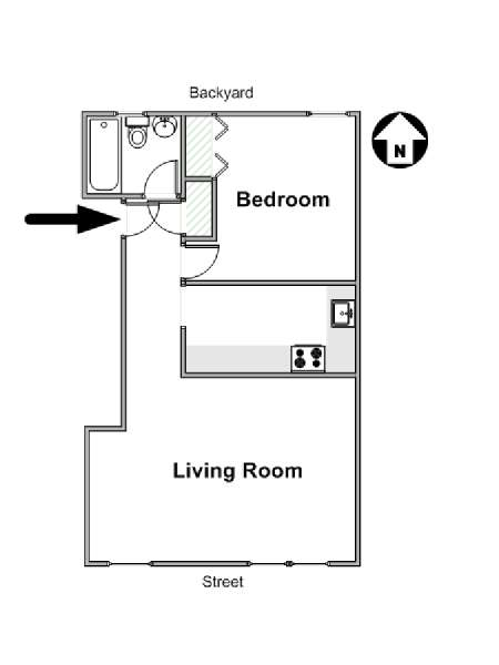 New York T2 logement location appartement - plan schématique  (NY-16566)