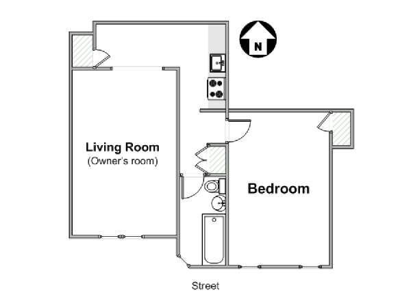 New York 1 Bedroom roommate share apartment - apartment layout  (NY-16708)