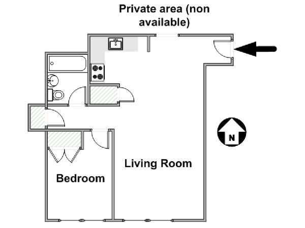 New York 3 Bedroom roommate share apartment - apartment layout  (NY-16823)