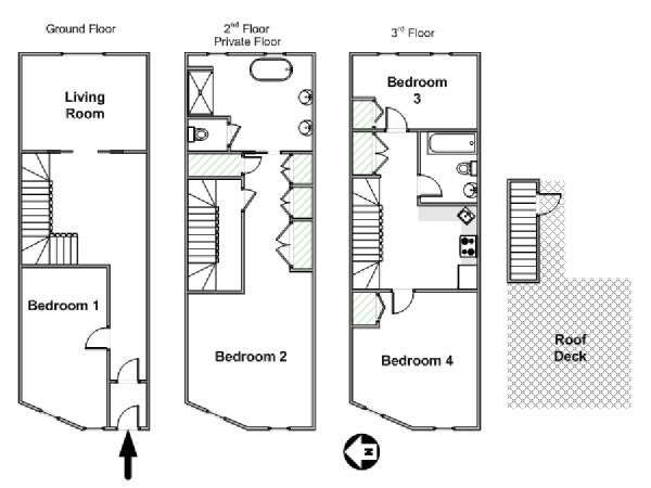 New York T5 appartement colocation - plan schématique  (NY-17082)