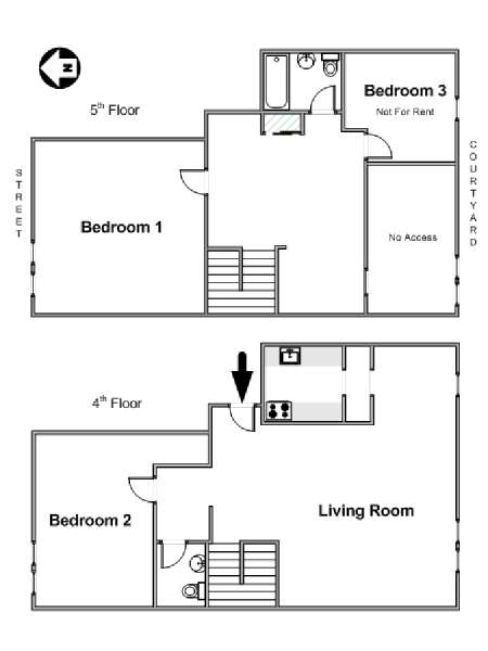 New York 3 Bedroom - Duplex roommate share apartment - apartment layout  (NY-17088)