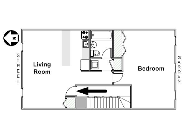 New York 1 Bedroom apartment - apartment layout  (NY-17211)