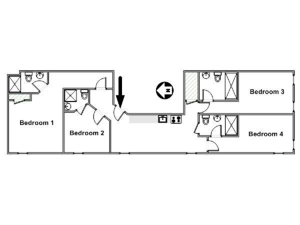 New York 4 Bedroom accommodation - apartment layout  (NY-17220)