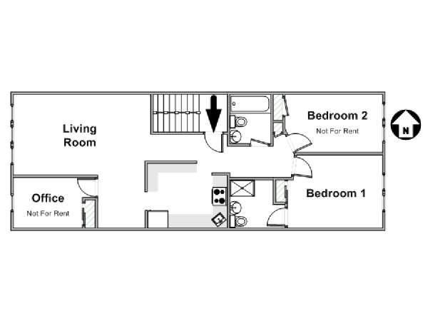 New York 2 Bedroom roommate share apartment - apartment layout  (NY-17277)
