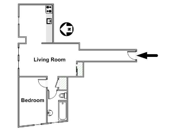 New York 1 Bedroom roommate share apartment - apartment layout  (NY-17299)