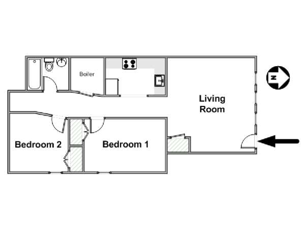 New York 2 Bedroom accommodation - apartment layout  (NY-17377)